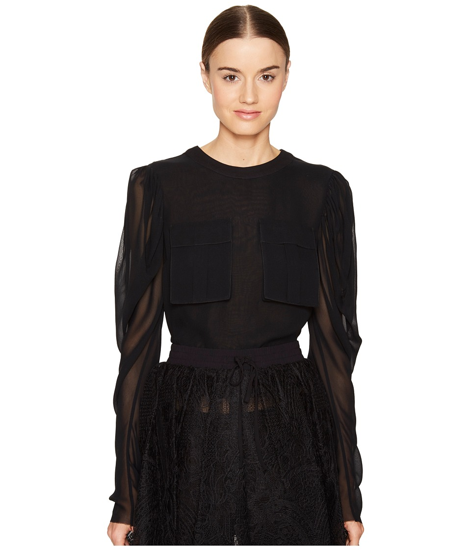 Vera Wang - Long Sleeve Blouse with Patch Pocket (Black) Women's Blouse