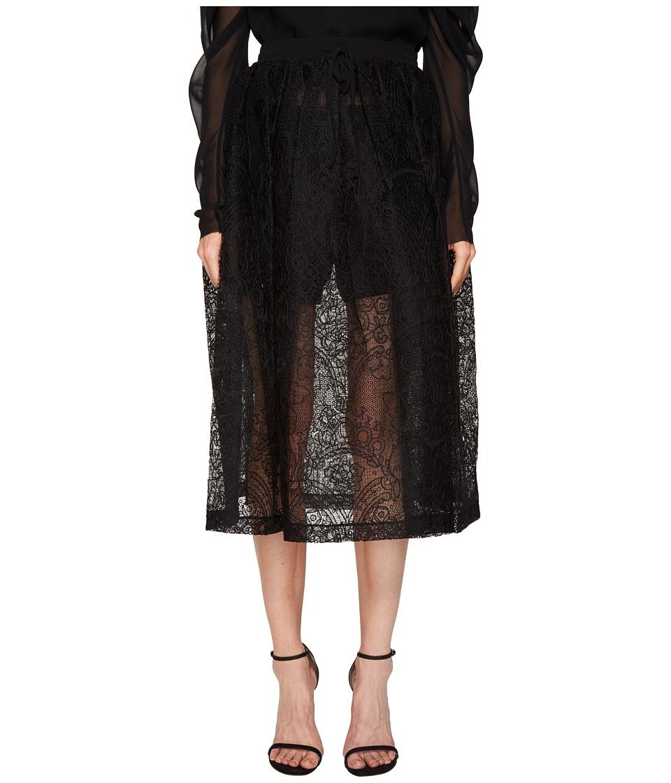 Vera Wang - Mid Calf Skirt with Draw Cord Waistband (Black) Women's Skirt