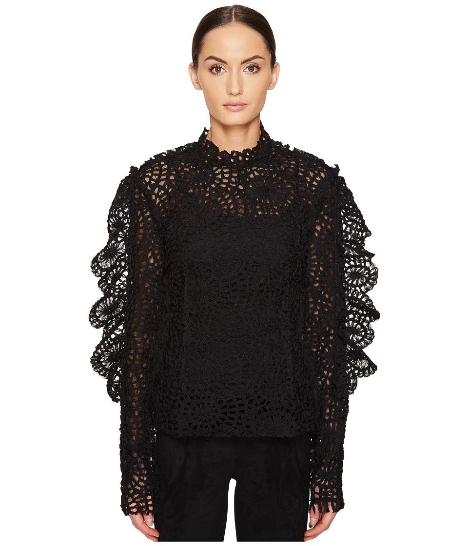 Preen by Thornton Bregazzi - Lace Organza Top (Black) Women's Dress
