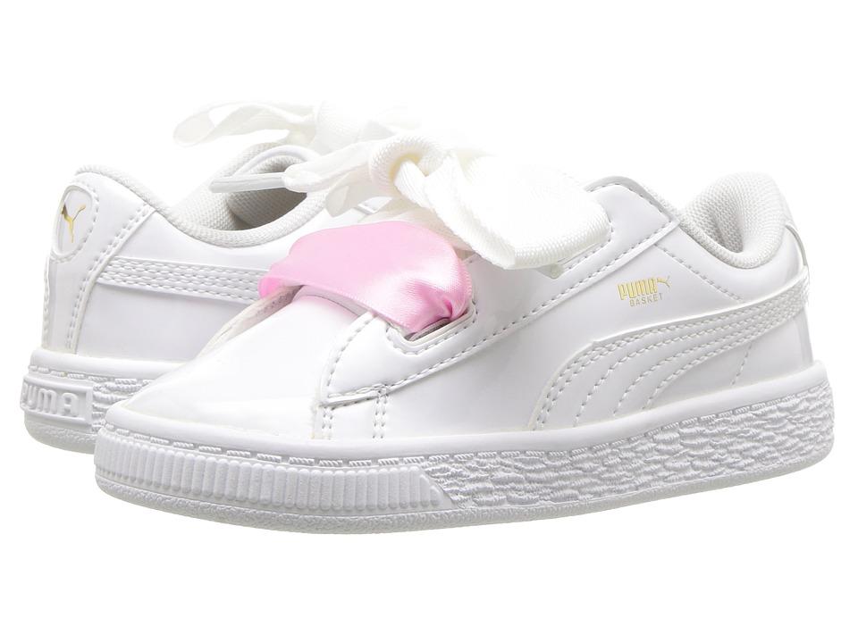Puma Kids Basket Heart Patent (Toddler) (Puma White/Puma White) Girl