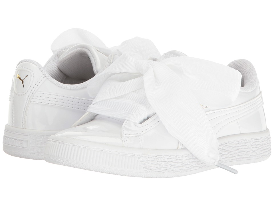 Puma Kids - Basket Heart Patent (Little Kid/Big Kid) (Puma White/Puma White) Girl's Shoes