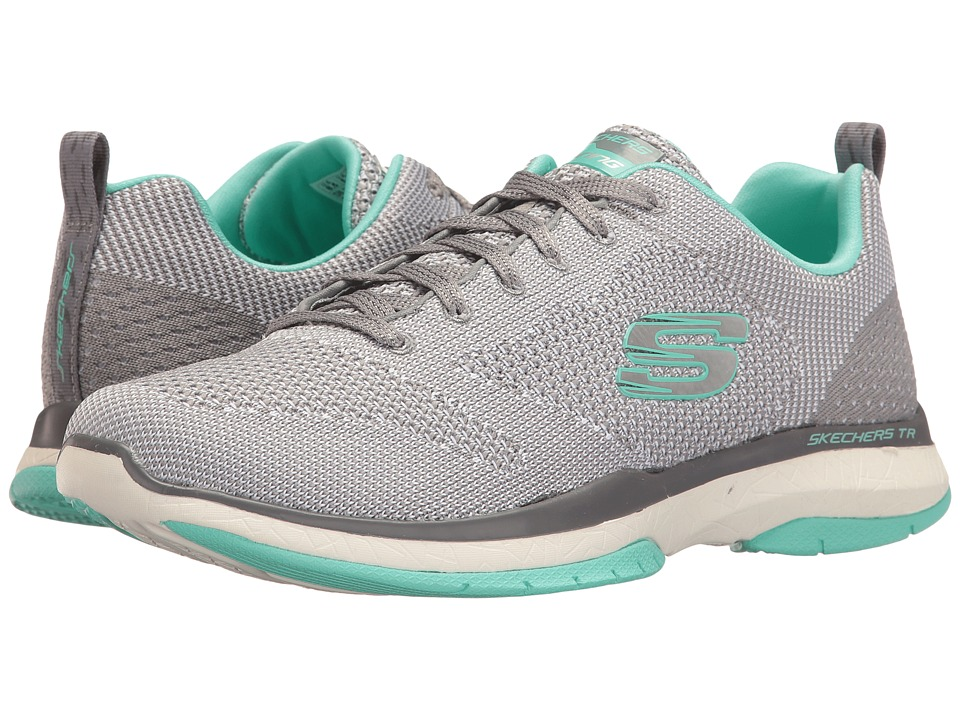 SKECHERS - Burst TR - Close Knit (Gray/Aqua) Women's Shoes