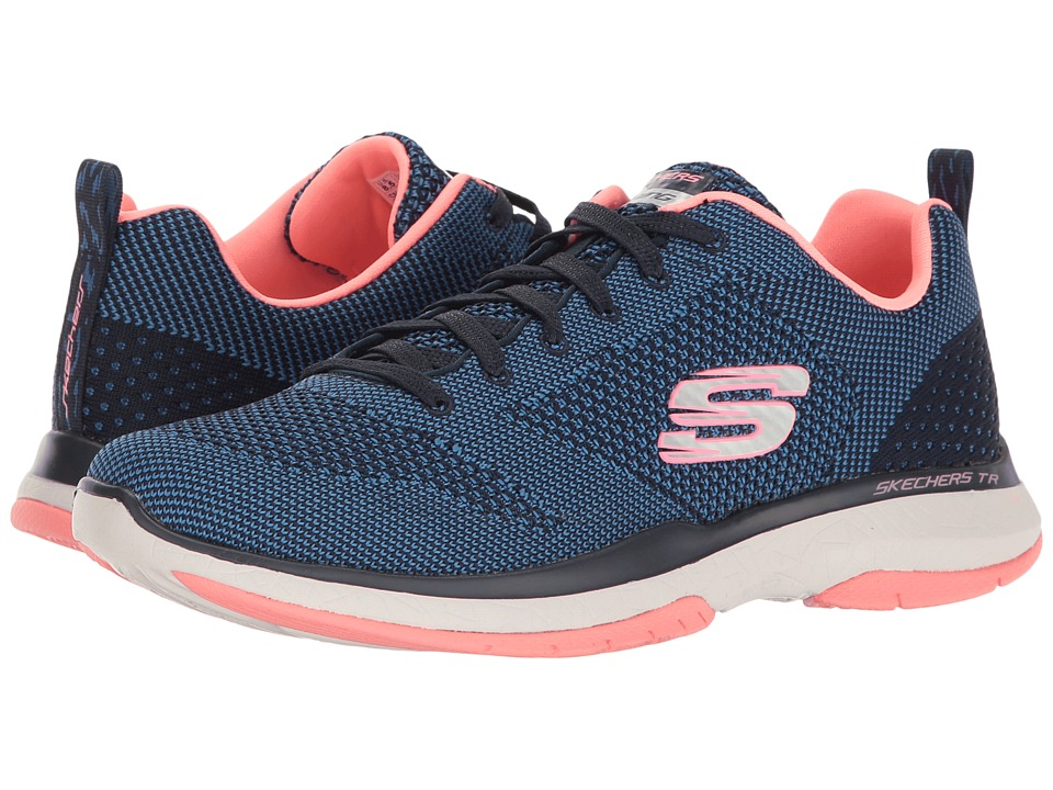 SKECHERS - Burst TR - Close Knit (Navy/Coral) Women's Shoes