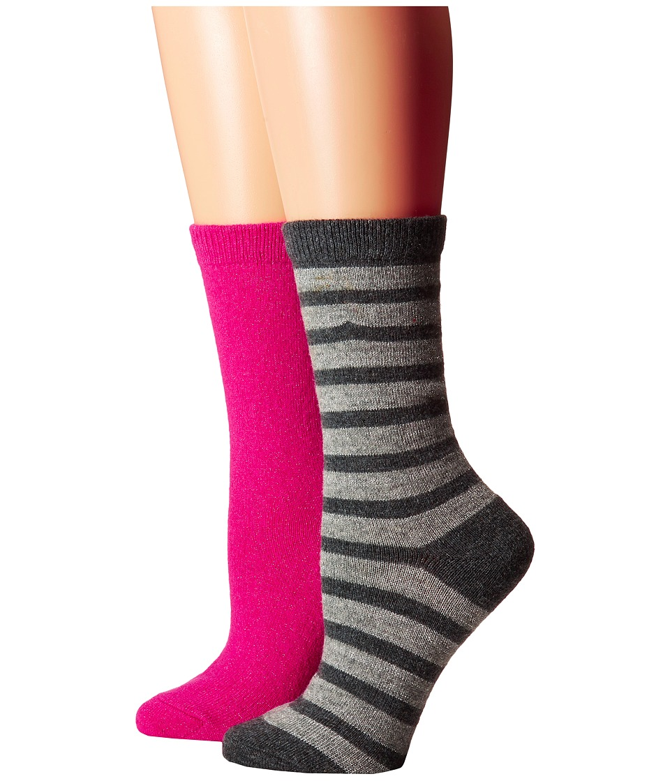 Kate Spade New York - Cashmere Stripe Sparkle Gifting 2-Pack Crew in Box (Grey Heather) Women's Crew Cut Socks Shoes