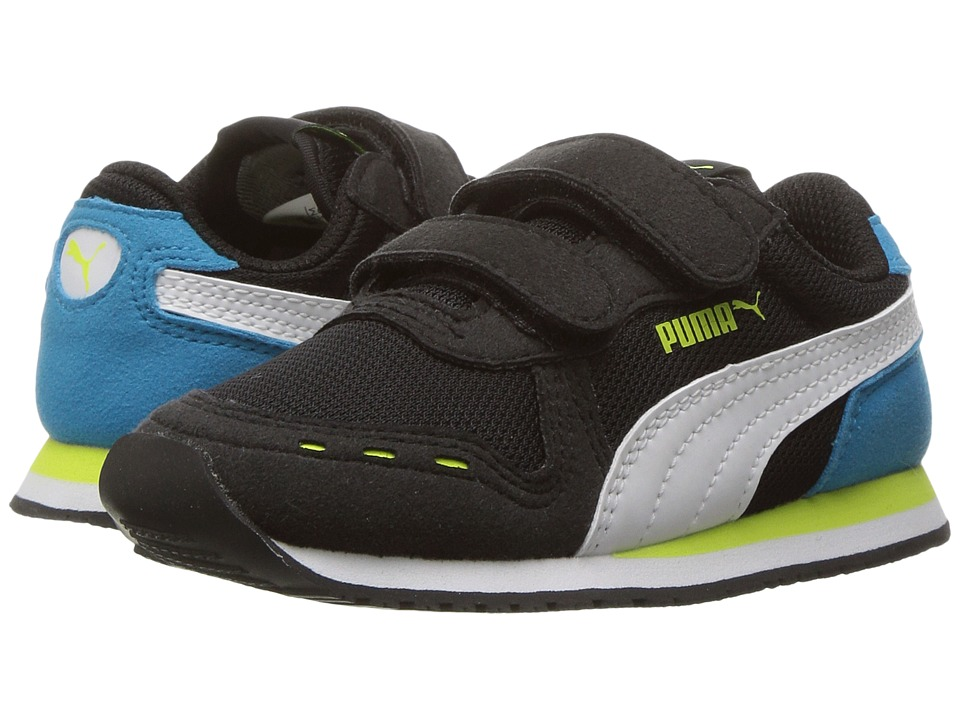 Puma Kids Cabana Racer Mesh V Inf (Toddler) (Puma Black/Puma White/Green) Boys Shoes
