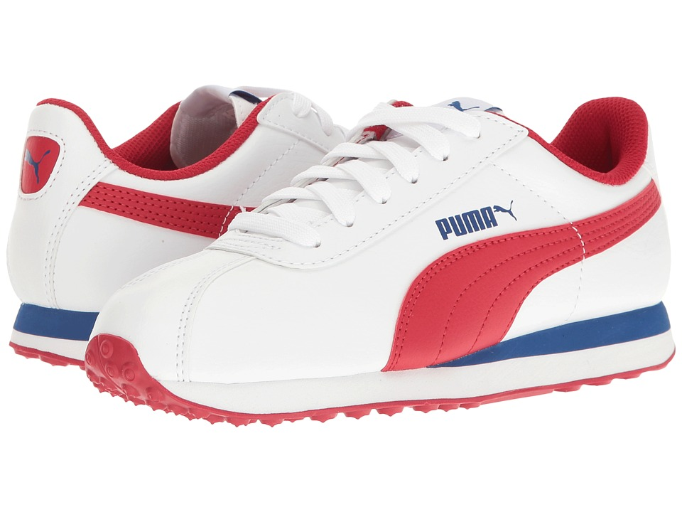 Puma Kids - Turin (Big Kid) (PUMA White/Barbados Cherry) Boys Shoes
