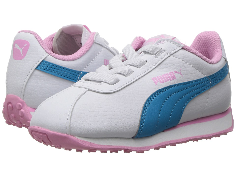 Puma Kids - Turin AC (Toddler) (Puma White/Hawaiian Ocean) Girls Shoes