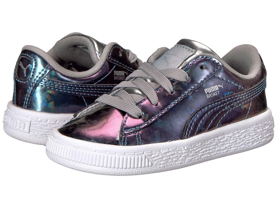 Puma Kids - Basket Classic Holo (Toddler) (Puma Silver/Puma Silver) Girl's Shoes