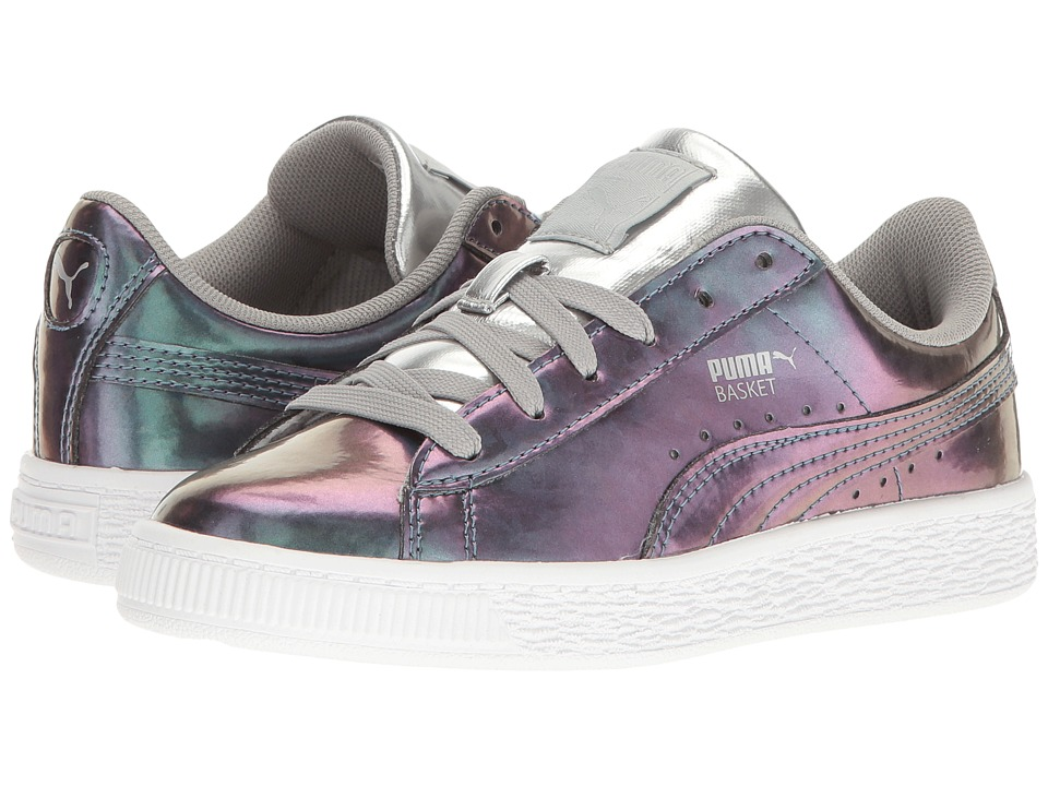 Puma Kids - Basket Classic Holo (Little Kid/Big Kid) (Puma Silver/Puma Silver) Girl's Shoes