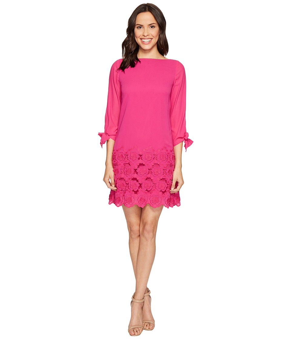 Tahari by ASL - Floral Embroidered Hem Sleeved Shift Dress (Shocking Pink) Women's Dress