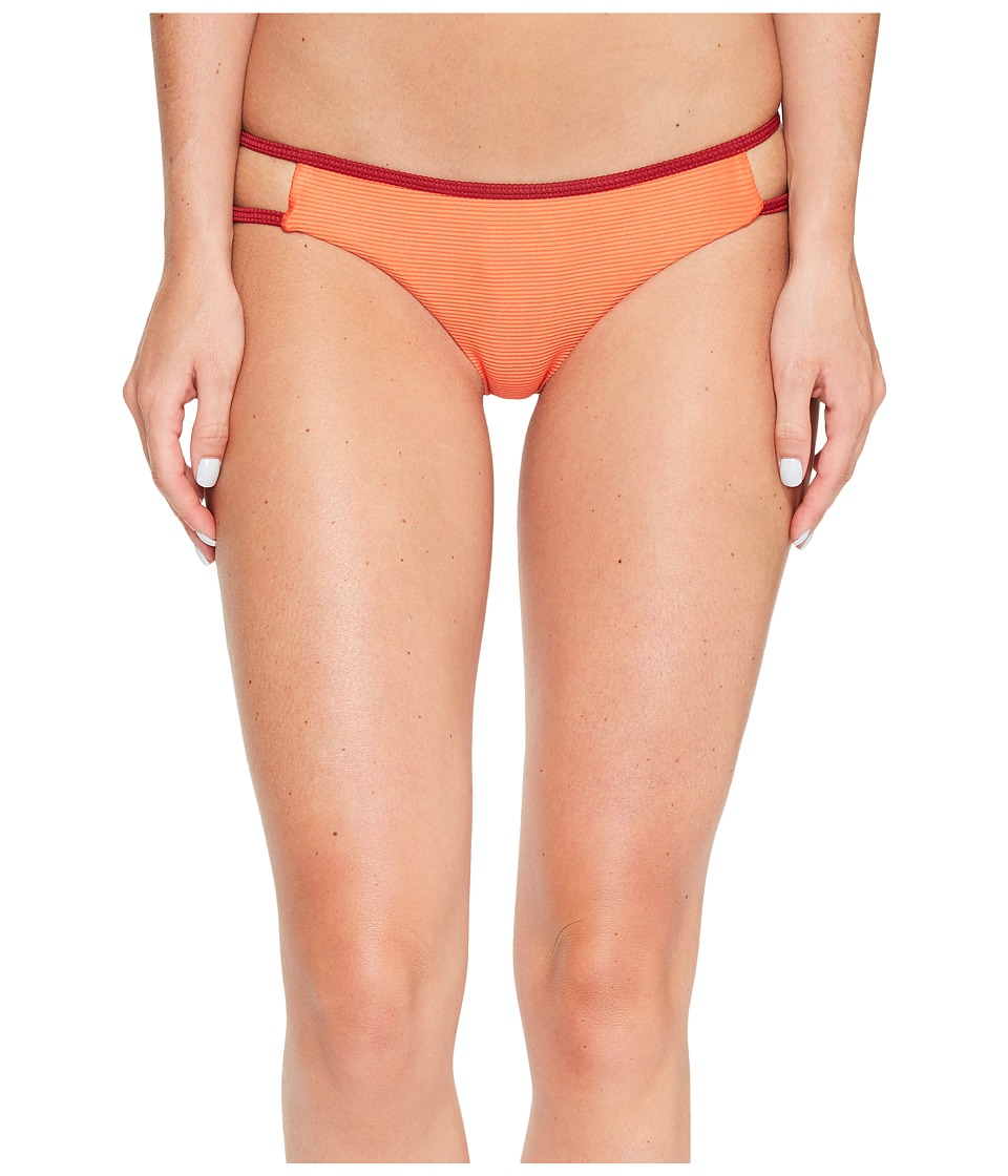 RVCA - Frothy Cheeky Bikini Bottom (Hot Coral) Women's Swimwear