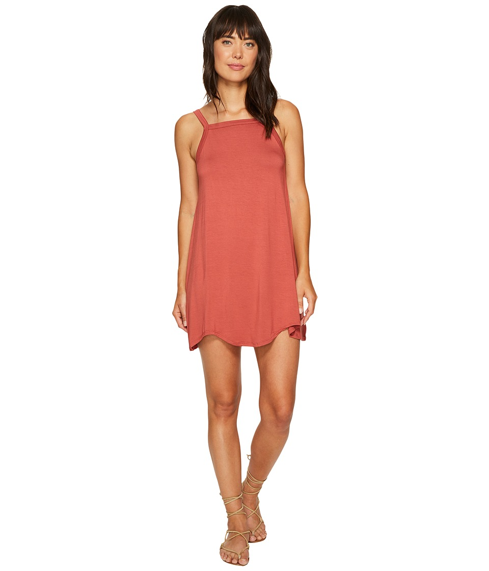 RVCA Thievery Scalloped Swing Dress (Rustic Red) Women