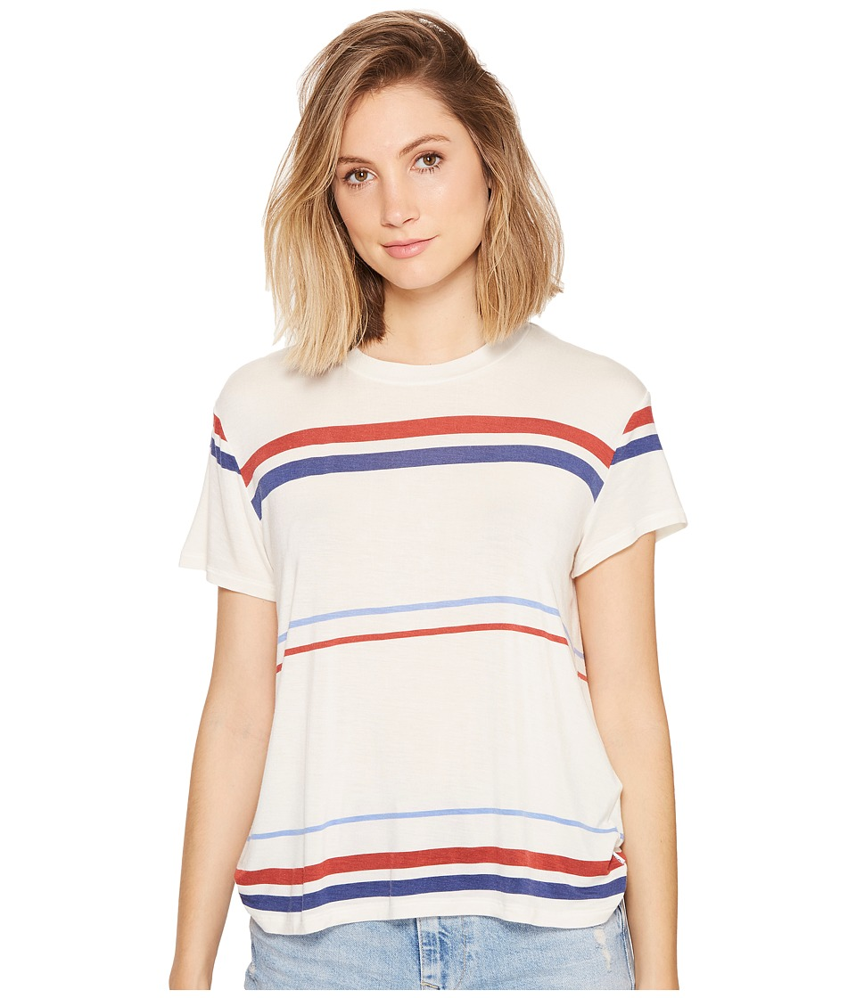 RVCA - Recess Striped Knit T-Shirt (Vintage White) Women's T Shirt