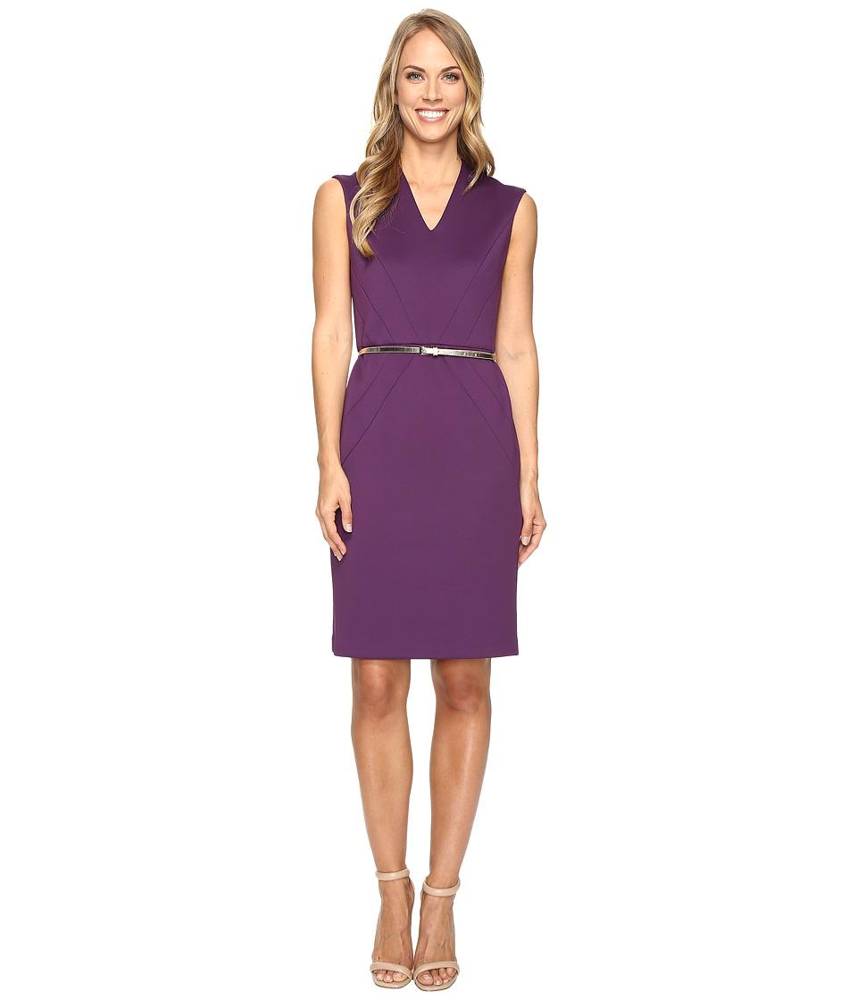 Ellen Tracy - Scuba Dress w/ Belt (Plum) Women's Dress