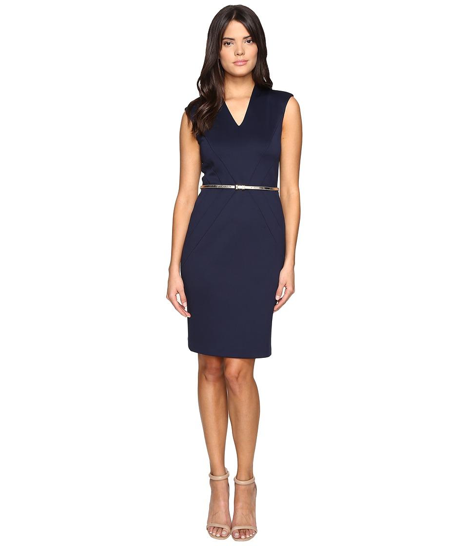 Ellen Tracy - Scuba Dress w/ Belt (Navy) Women's Dress
