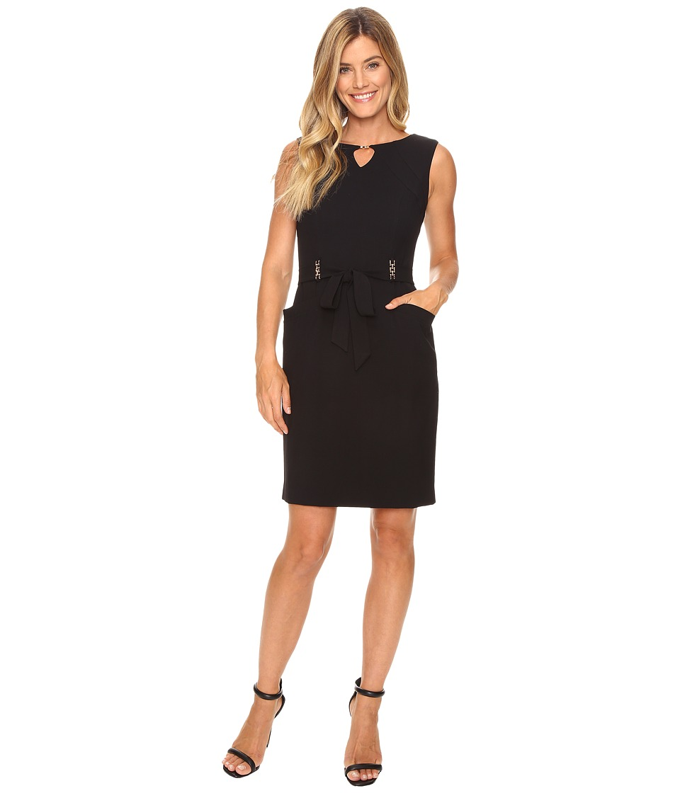 Ellen Tracy - Solid Shift Dress w/ Keyhole and Hardware Detail (Black) Women's Dress