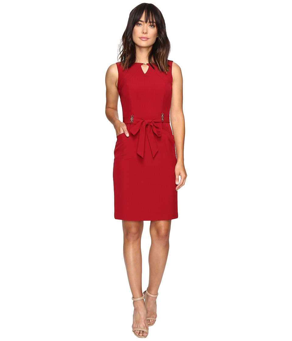 Ellen Tracy - Solid Shift Dress w/ Keyhole and Hardware Detail (Red) Women's Dress