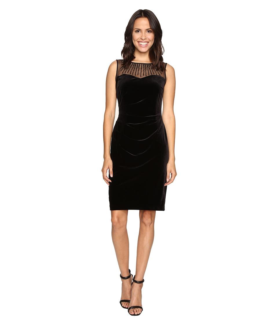 Ellen Tracy Velvet Dress w/ Neckline Embellishment (Black) Women