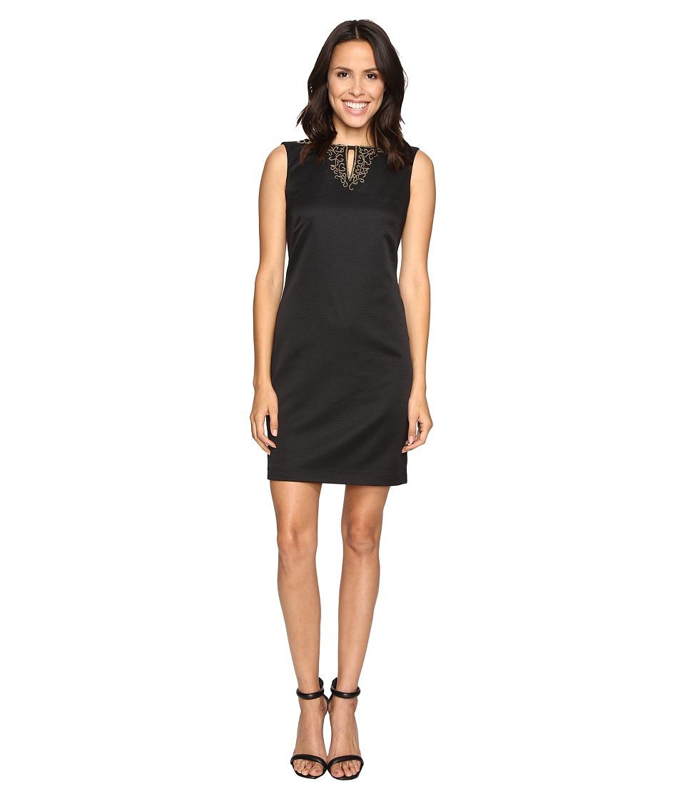 Ellen Tracy Pique Dress w/ Neckline Embellishment (Black) Women