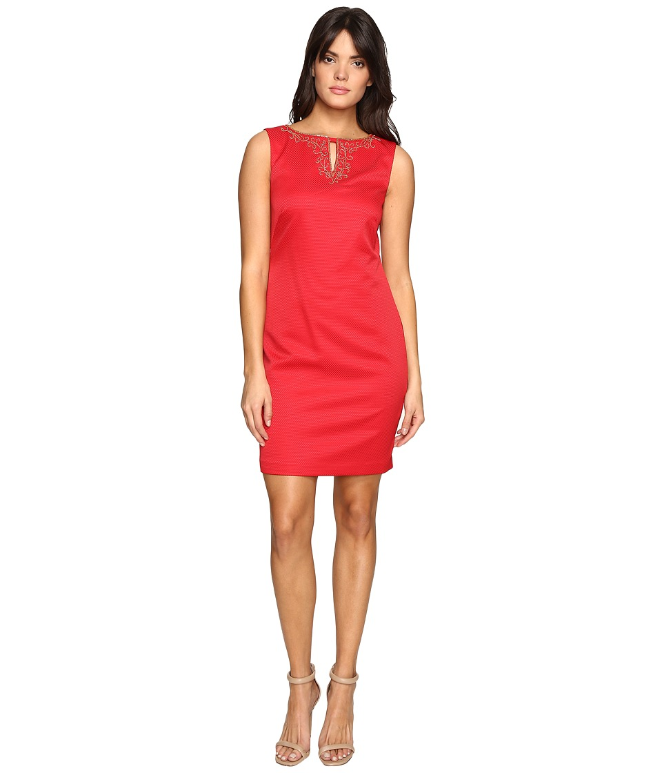 Ellen Tracy Pique Dress w/ Neckline Embellishment (Red) Women