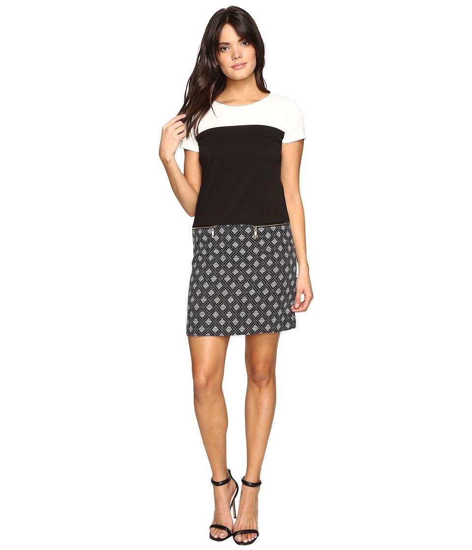 Ellen Tracy - Mixed Media T-Shirt Dress (Black Ivory) Women's Dress