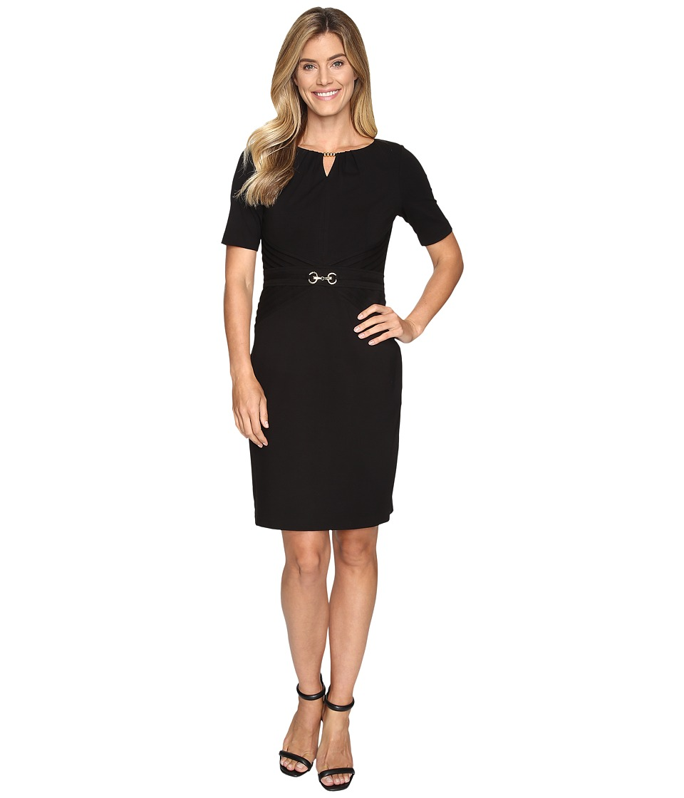 Ellen Tracy - Luxe Stretch Dress w/ Keyhole (Black) Women's Dress