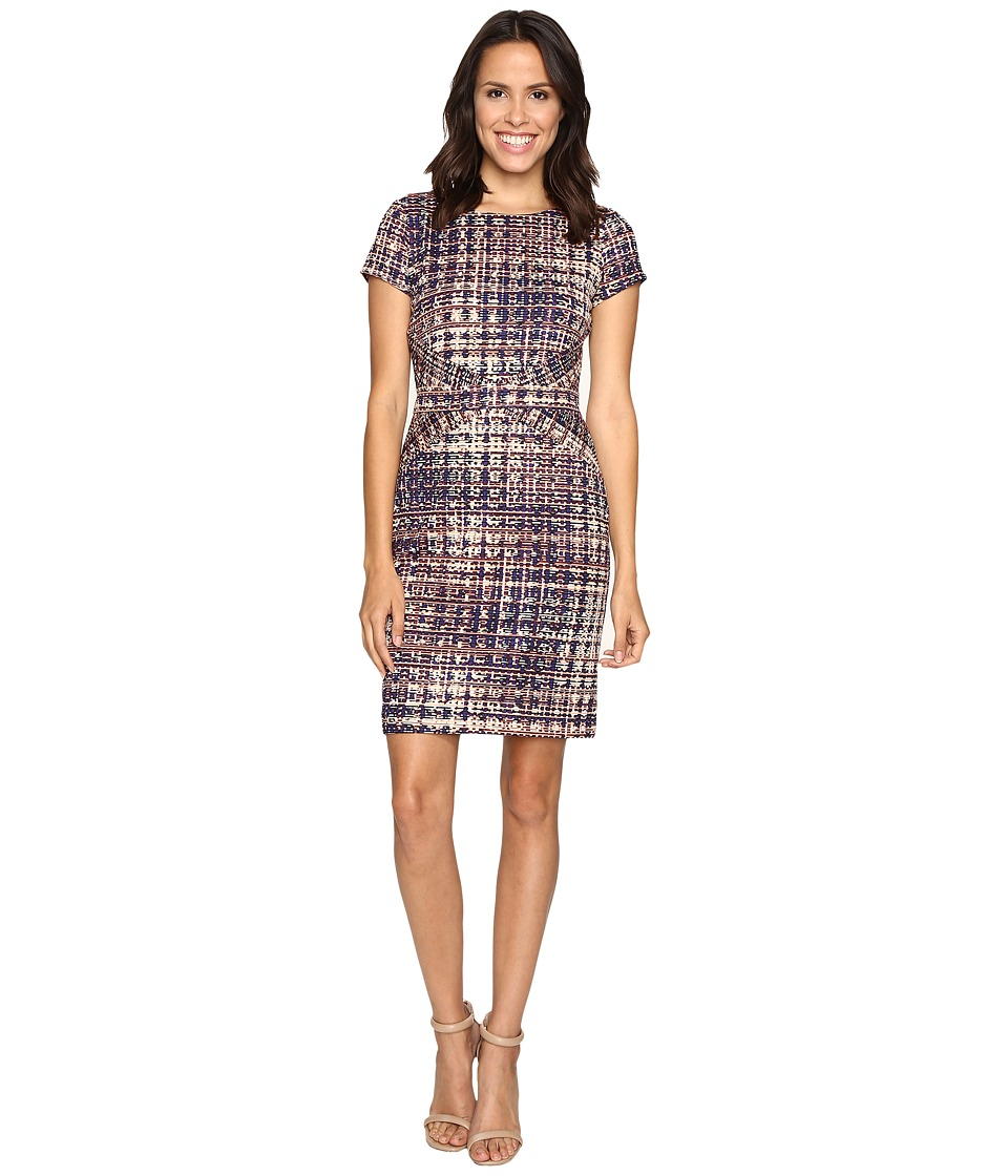 Ellen Tracy - Short Sleeve Printed Ponte Dress w/ Waist Detail (Multi) Women's Dress