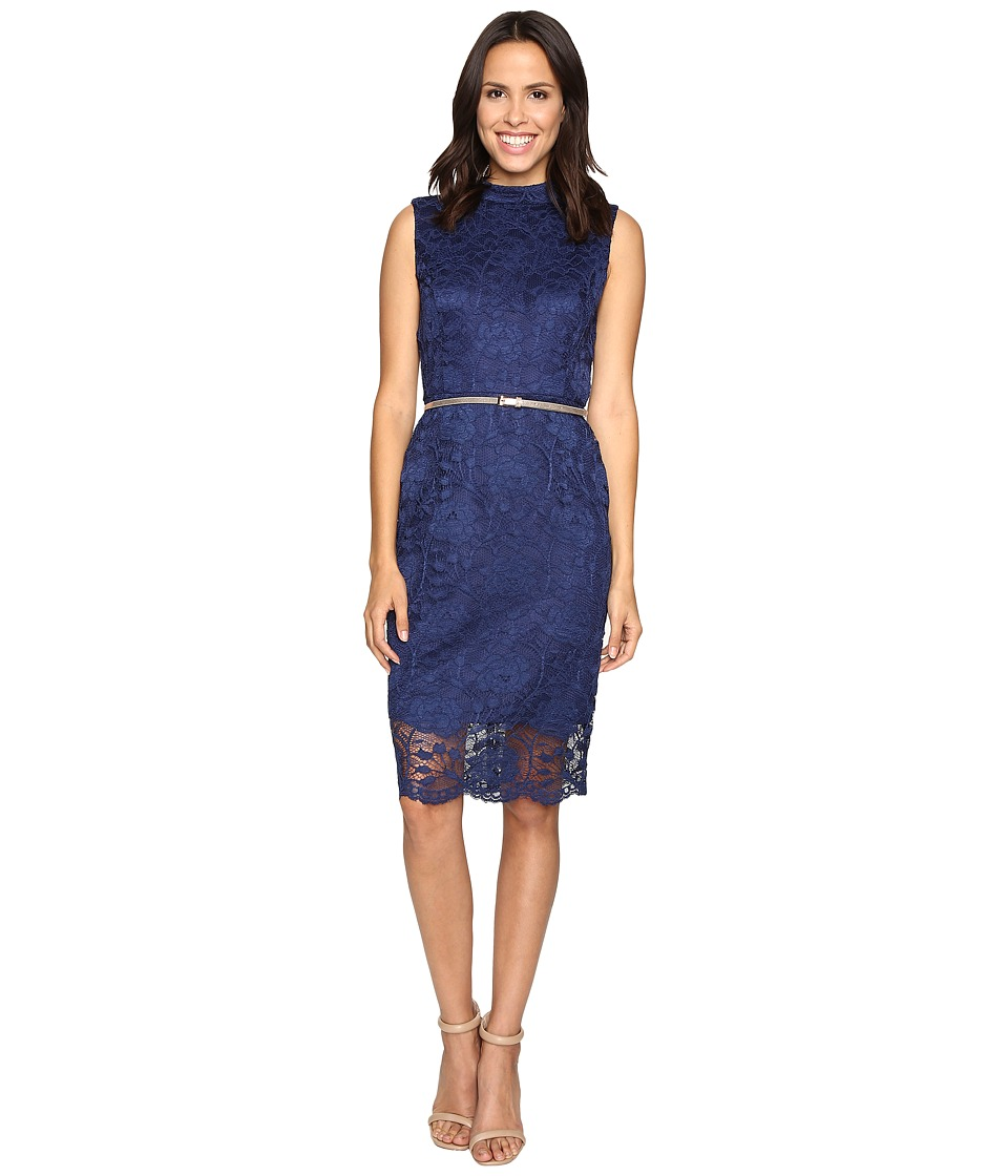 Ellen Tracy All Over Lace Dress w/ Mock Neck and Belt (Navy) Women