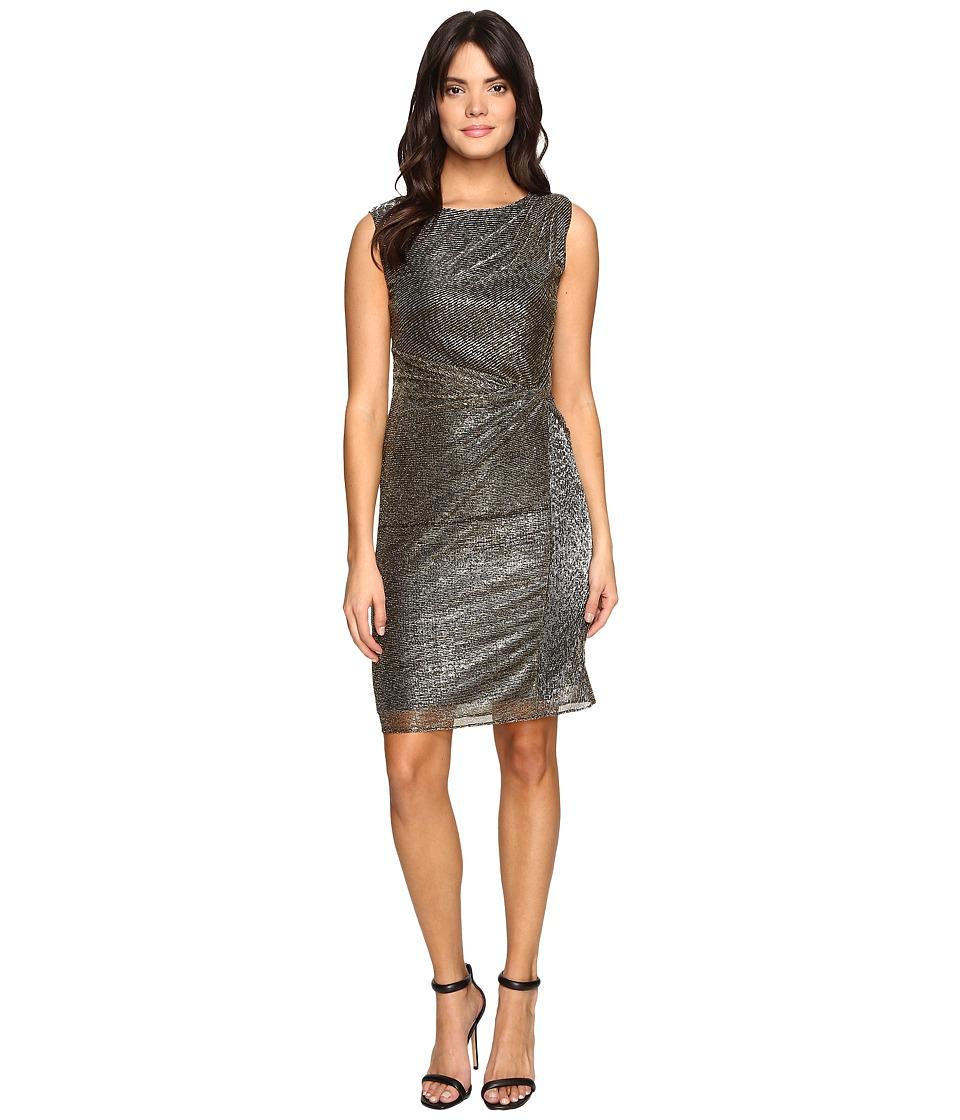 Ellen Tracy Galaxy Metallic Dress w/ Side Knot Detail (Black Gold) Women