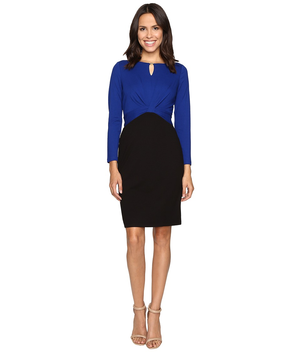 Ellen Tracy - Long Sleeve Color Block Dress w/ Keyhole (Cobalt Black) Women's Dress
