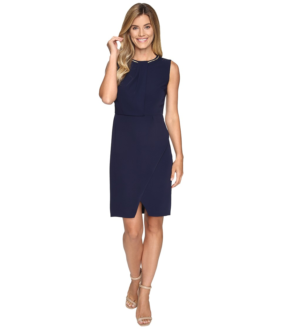 Ellen Tracy Silky CDC Dress w/ Removable Necklace (Navy) Women