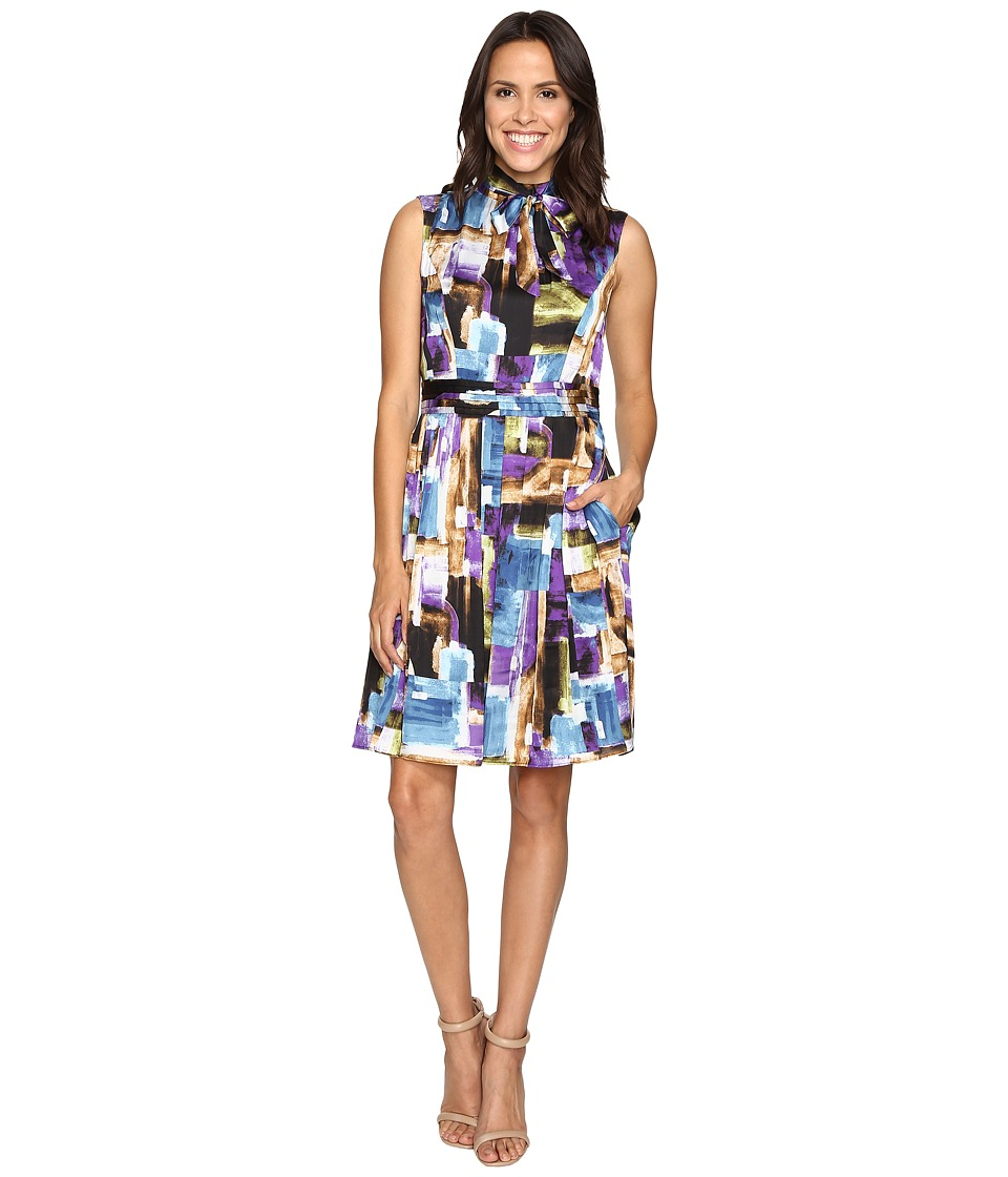 Ellen Tracy - Scarf Print Dress w/ Neck Tie (Purple Multi) Women's Dress