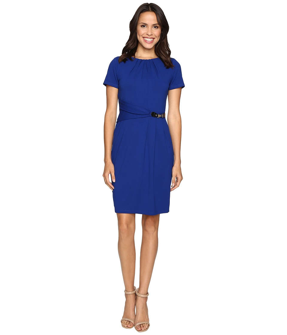 Ellen Tracy - Short Sleeved Luxe Stretch Dress w/ Buckle Detail (Cobalt) Women's Dress