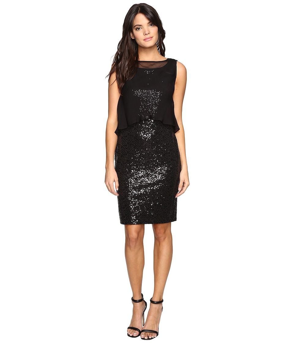 Ellen Tracy - Sequin Dress w/ Removable Chiffon Layer (Black) Women's Dress
