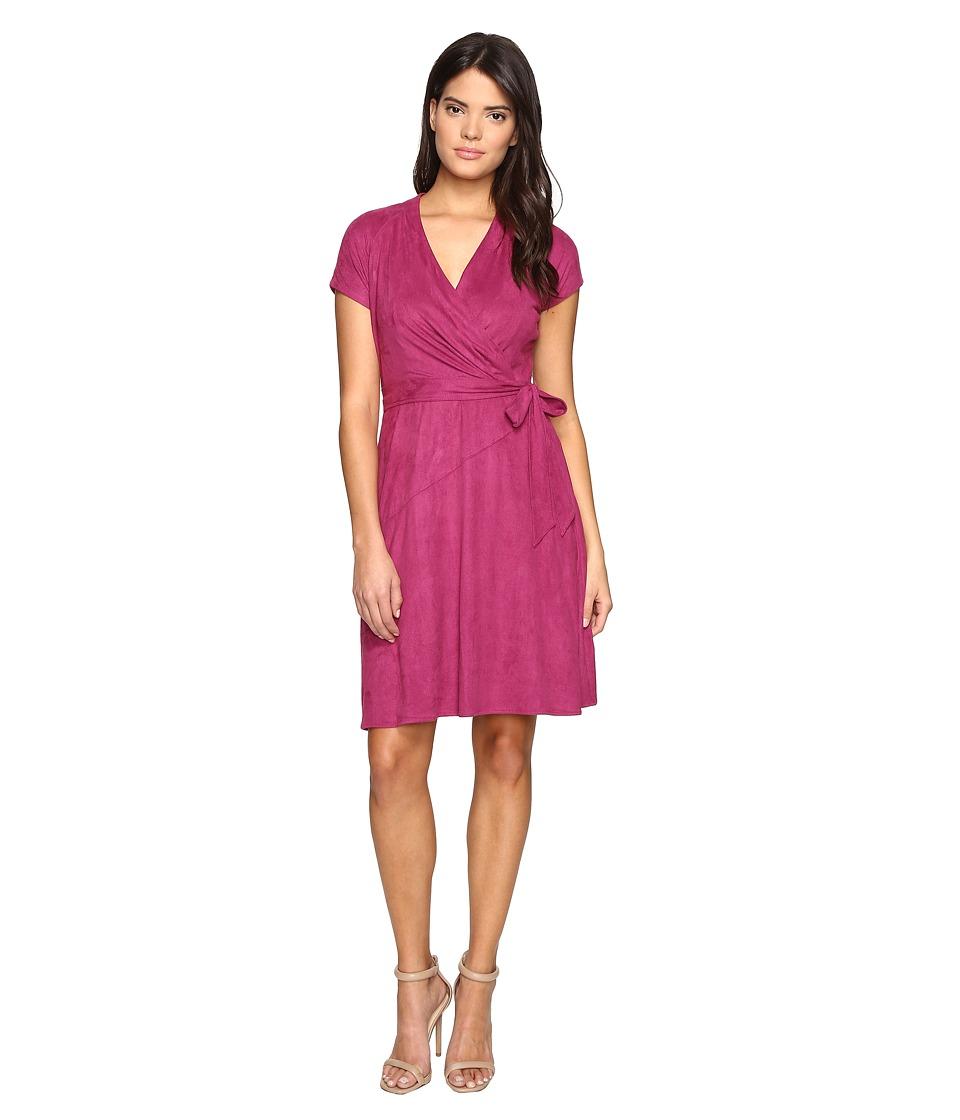 Ellen Tracy Short Sleeved Faux Suede Dress (Berry) Women