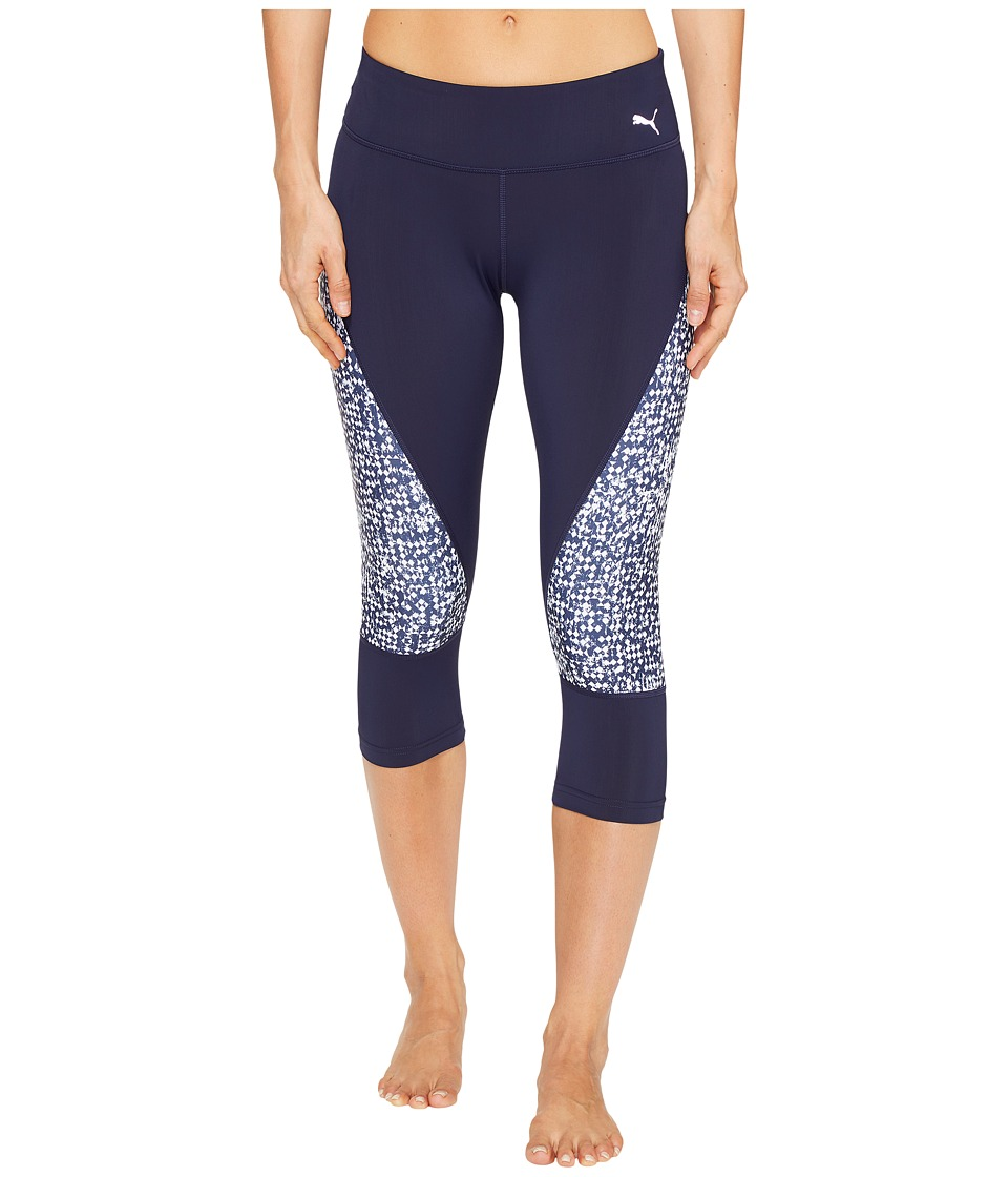 PUMA - Culture Surf 3/4 Tights (Peacoat/White Box Print) Women's Casual Pants