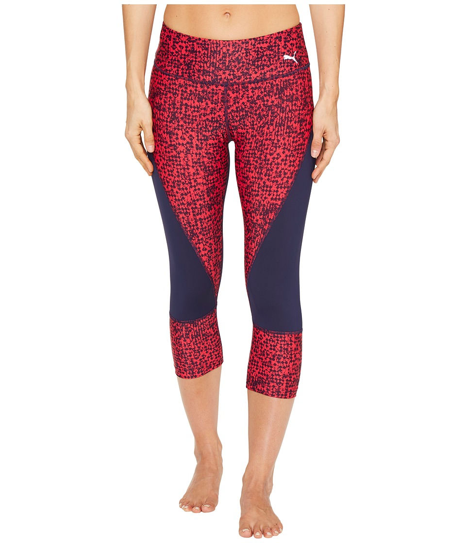 PUMA - Culture Surf 3/4 Tights (Peacoat/Pink Box Print) Women's Casual Pants