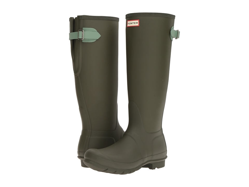 Hunter - Original Back Adjustable (Dark Olive/Succulent Green) Women's Rain Boots