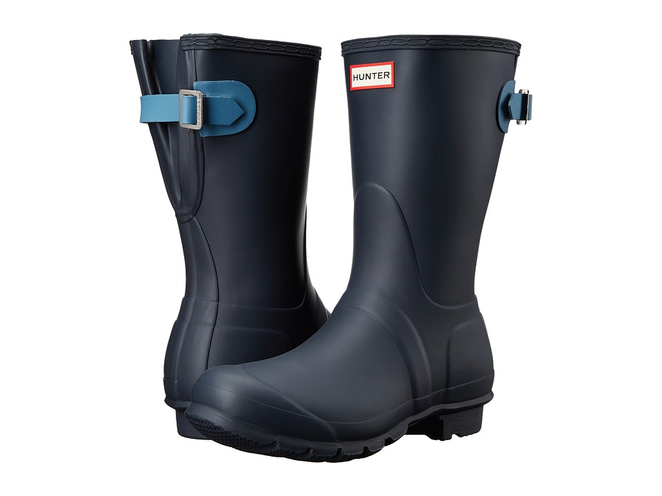 Hunter - Original Back Adjustable Short (Navy/Pale Air Force) Women's Rain Boots