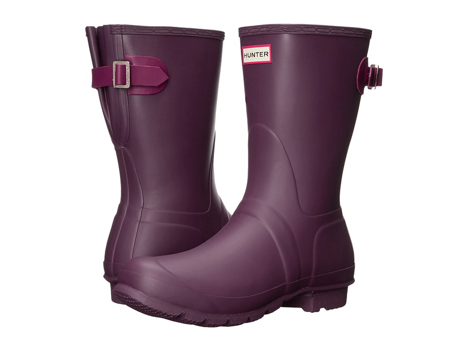 Hunter - Original Back Adjustable Short (Black Grape/Bright Violet) Women's Rain Boots