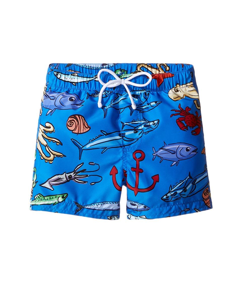Dolce & Gabbana Kids - Mare Fish Swim Trunk (Infant) (Blue) Boy's Swimwear