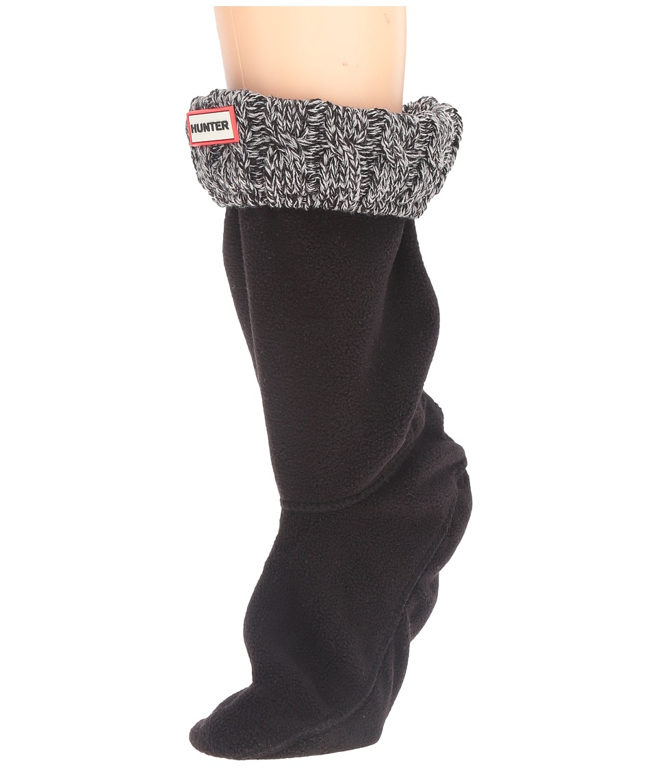 Hunter - 6 Stitch Cable Boot Sock - Short (Black/Grey) Women's Crew Cut Socks Shoes