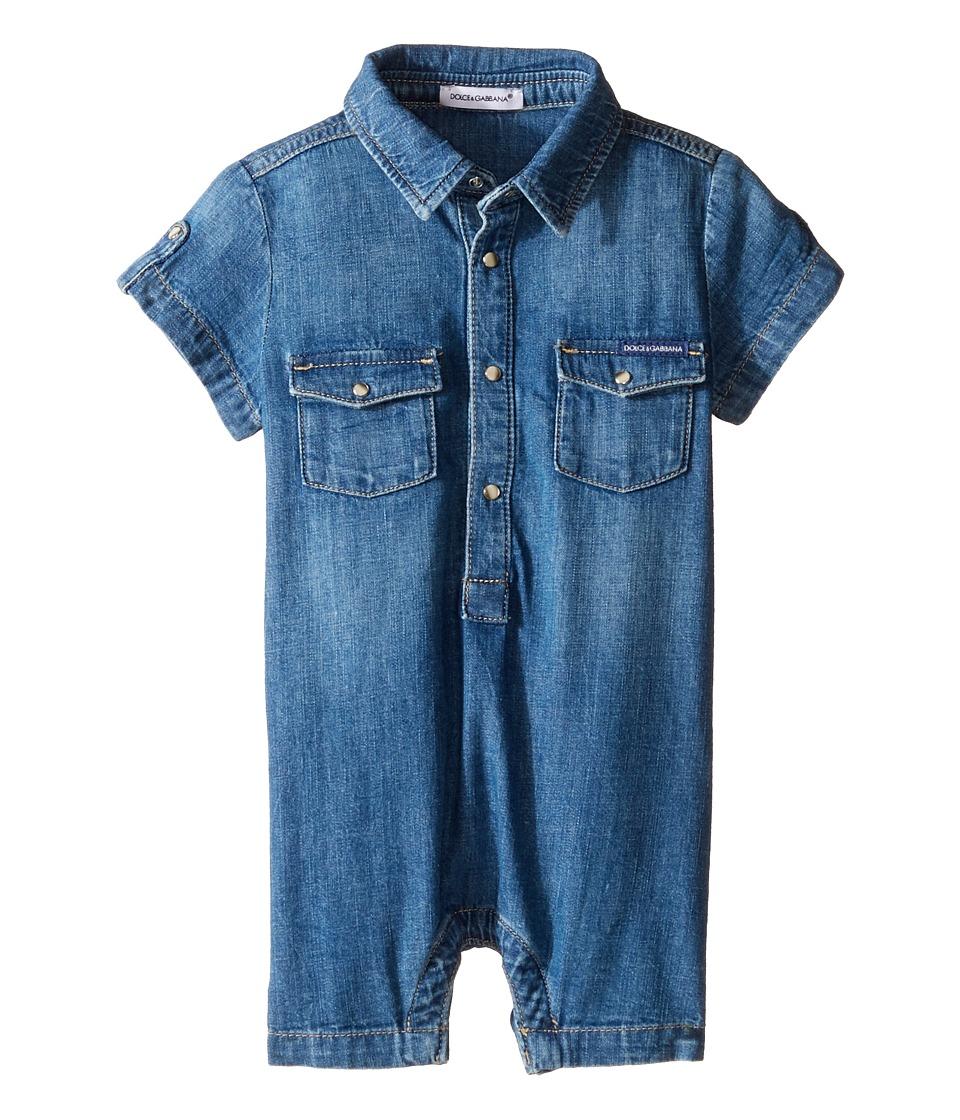 Dolce & Gabbana Kids - Denim Overalls (Infant) (Blue) Boy's Overalls One Piece