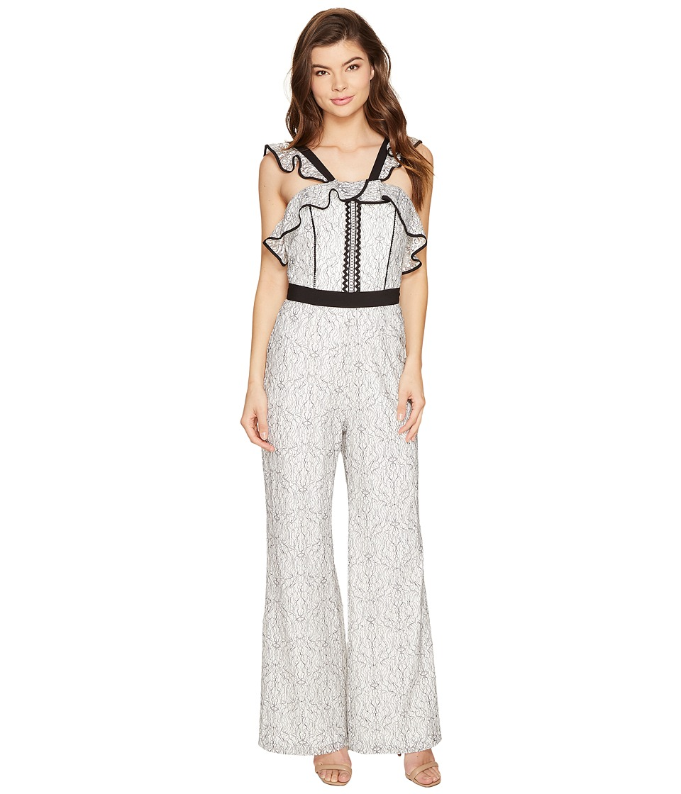 Adelyn Rae - Elodie Woven Lace Jumpsuit (White/Black) Women's Jumpsuit & Rompers One Piece