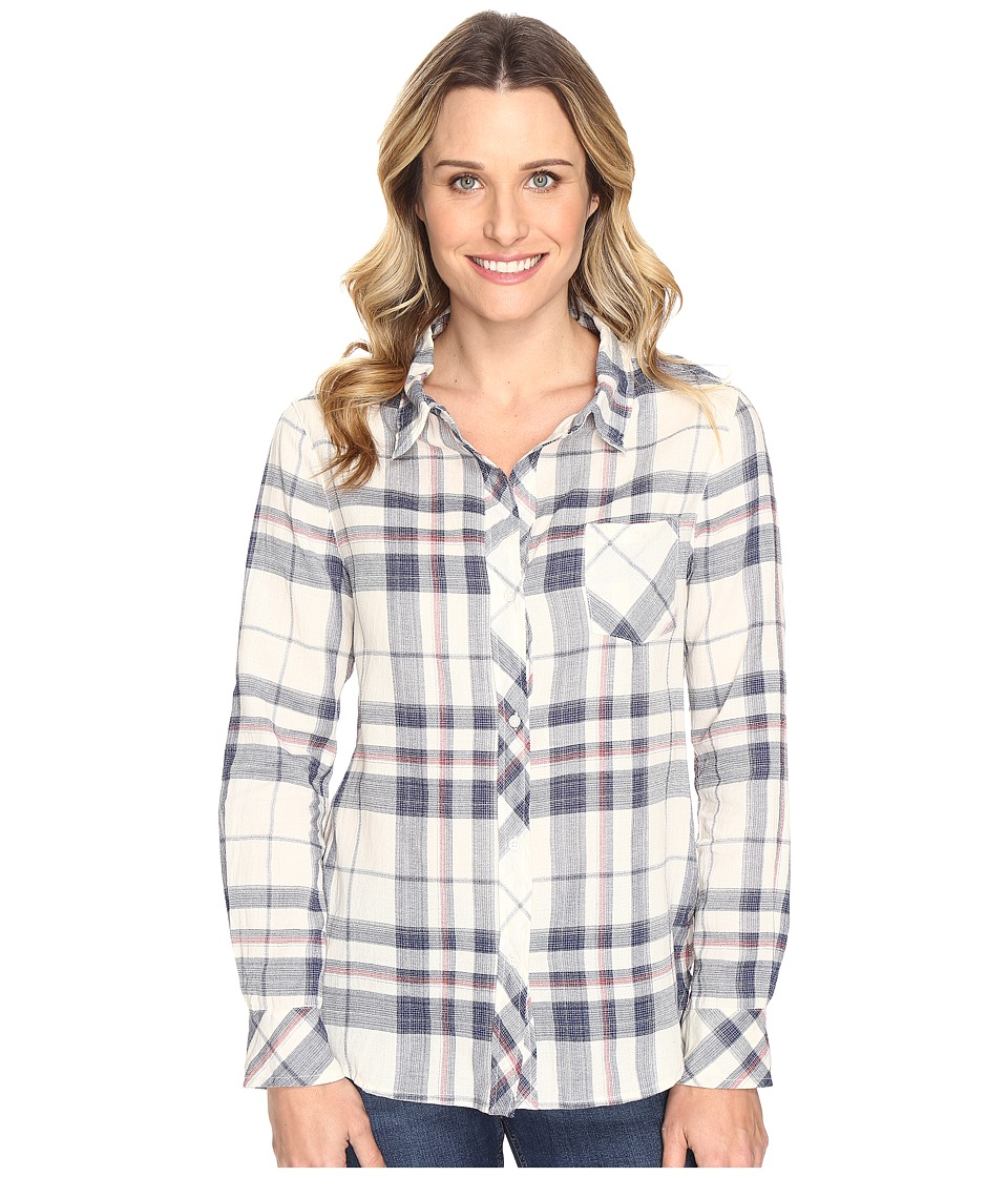 Dylan by True Grit - Sophy Soft Lines Plaid Classic One-Pocket Blouse (Indigo) Women's Blouse