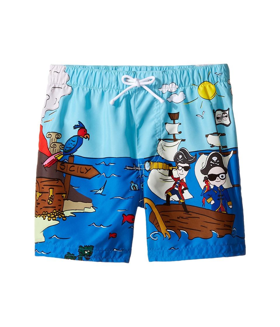 Dolce & Gabbana Kids - Mare Sicily Pirate Swim Trunk (Toddler/Little Kids) (Blue) Boy's Swimwear