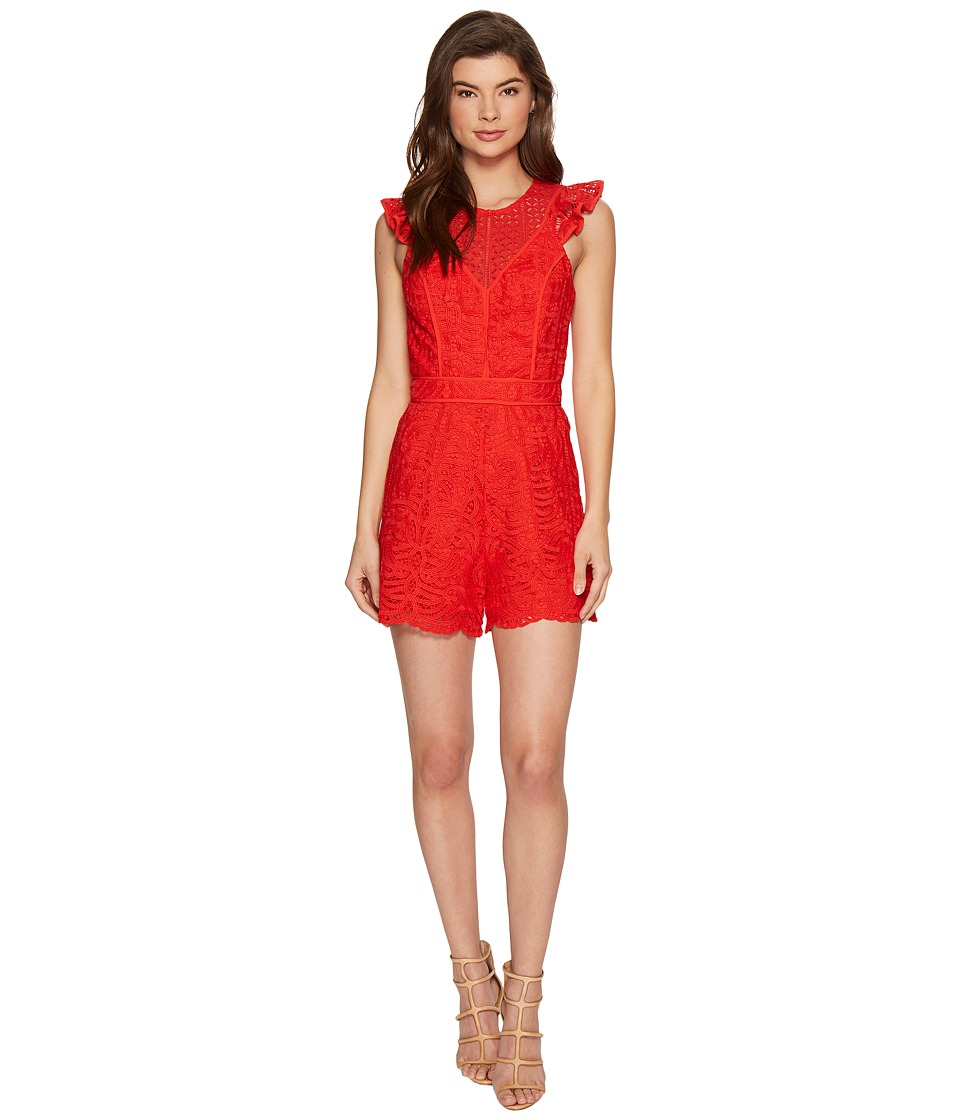 Adelyn Rae - Laureen Woven Lace Romper (Red) Women's Jumpsuit & Rompers One Piece