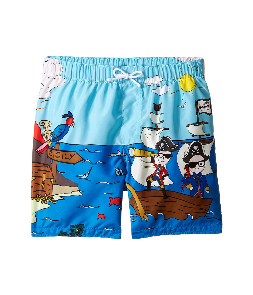 Dolce & Gabbana Kids - Mare Sicily Pirate Swim Trunk (Big Kids) (Blue) Boy's Swimwear