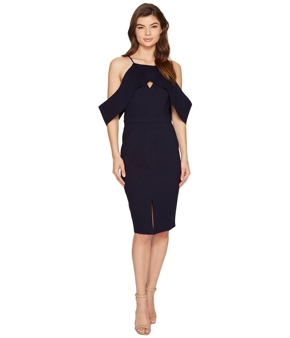 Adelyn Rae Alessandra Knit Ponte Cold Shoulder Dress (Navy) Women