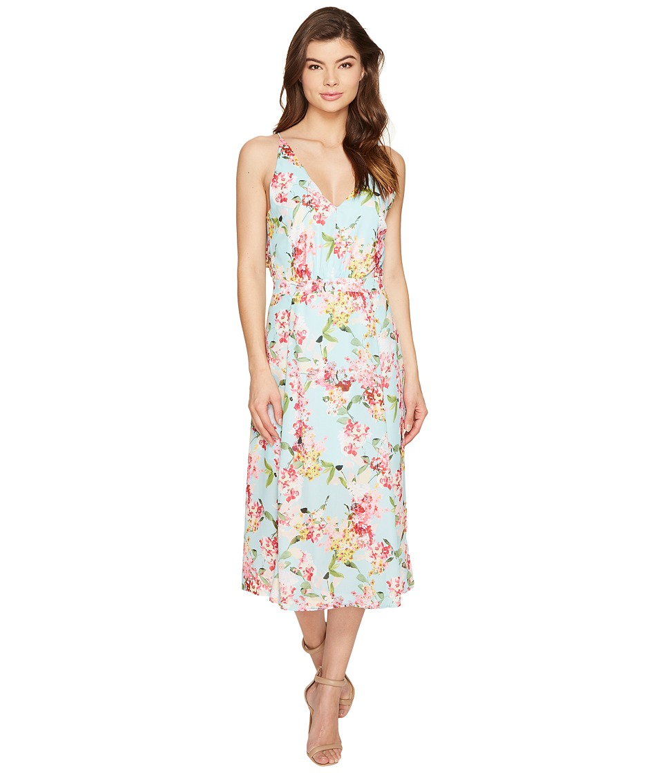Adelyn Rae - Valerie Woven Printed Maxi Dress (Aquamarine) Women's Dress
